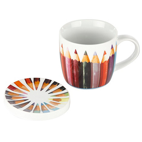 Ben de Lisi Home - White rainbow pencil mug and coaster set
