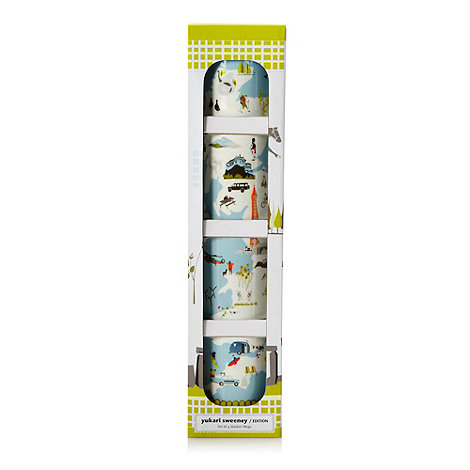 Yukari Sweeney/EDITION - Designer set of four porcelain British Isles map stacking mugs