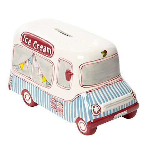 At home with Ashley Thomas - White ice cream van-shaped money box