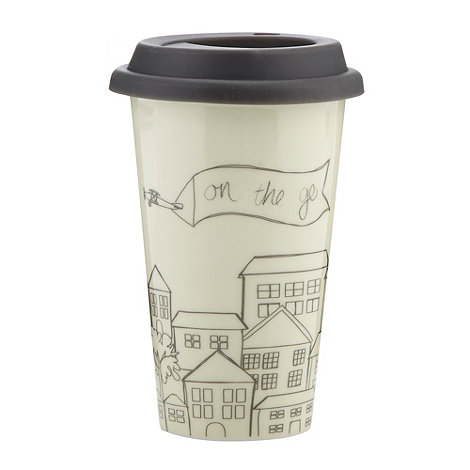 Ben de Lisi Home - Designer stoneware house patterned travel mug