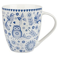 Queens - Fine china blue 'Penzance Crush' mug