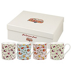 Queens - Set of four fine china 'Caravan Chintz' mugs
