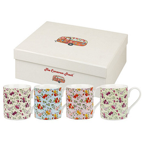 Queens - Set of four fine china +Caravan Chintz+ mugs