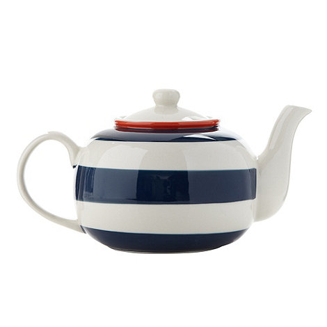 J by Jasper Conran - Designer stoneware striped painted teapot