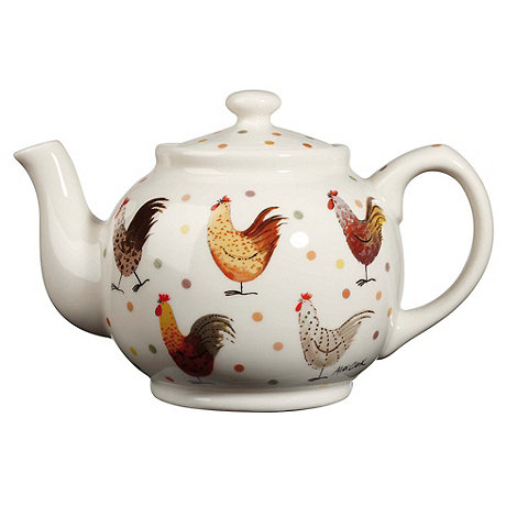 Queens - Fine china white rooster teapot