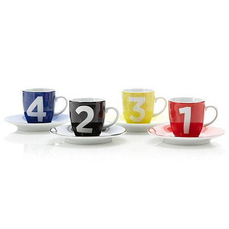Ben de Lisi Home - Designer porcelain set of four espresso cups and saucers
