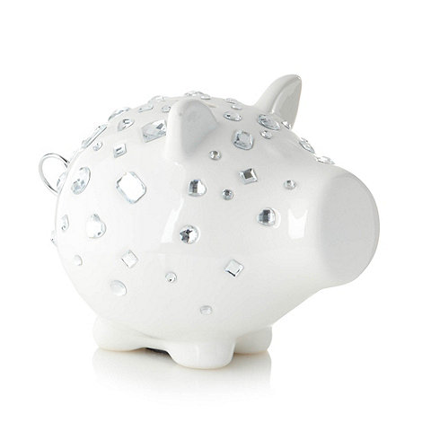Salt & Pepper - Ceramic white 'Oink' diamante pig money box