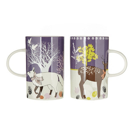 At home with Ashley Thomas - Set of two deer and fox print mugs