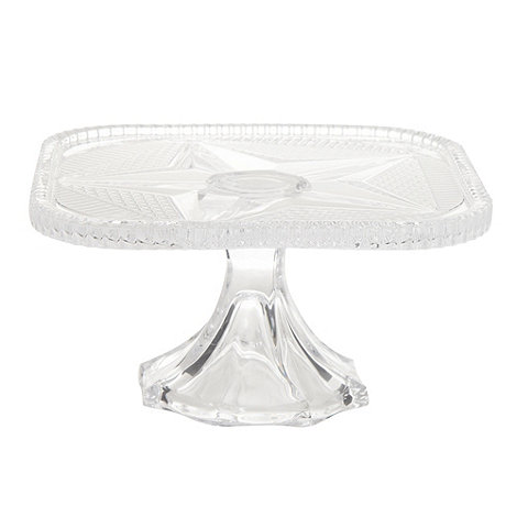 At home with Ashley Thomas - Glass small square cake stand