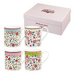 Queens - Set of four fine china 'Riviera' mugs