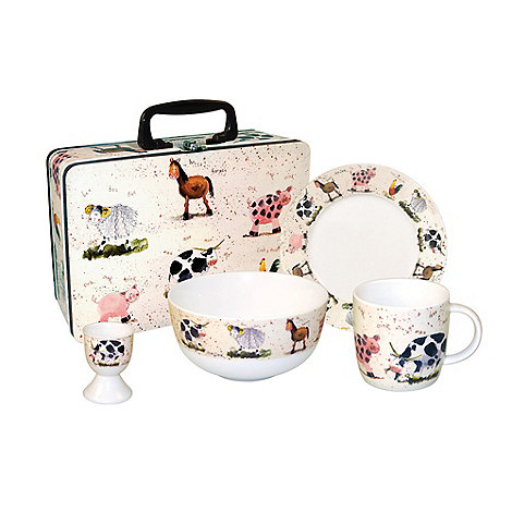 Queens by Churchill - Multi coloured farmyard breakfast set