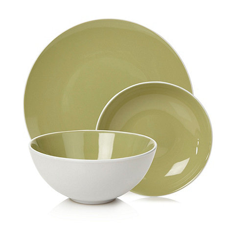Home Collection Basics - Stoneware 12 piece two-toned white and green dinner set