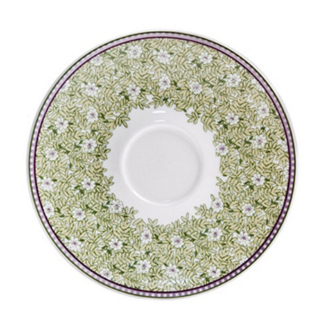 Denby - White +Monsoon Daisy+ border tea saucer