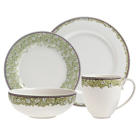 Denby - White +Monsoon Daisy+ border sixteen piece dining set