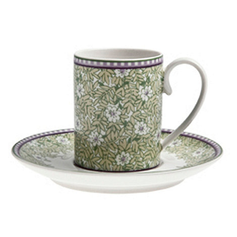 Denby - White +Monsoon Daisy+ espresso cup and saucer