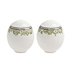 Denby - White 'Monsoon Daisy' border salt and pepper pots