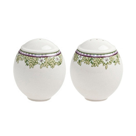 Denby - White +Monsoon Daisy+ border salt and pepper pots