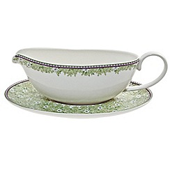 Denby - White 'Monsoon Daisy' border sauce jug and stand
