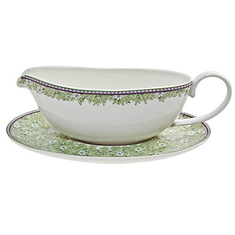 Denby - White +Monsoon Daisy+ border sauce jug and stand
