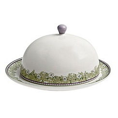 Denby - White 'Monsoon Daisy' border butter dish