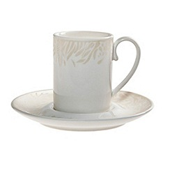 Denby - White 'Monsoon Lucille' espresso cup and saucer set
