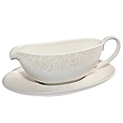 Denby - White 'Monsoon Lucille' sauce jug and stand