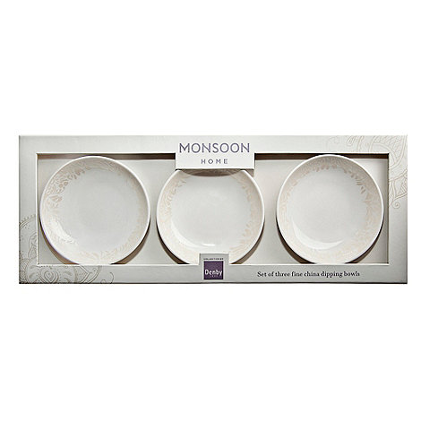Denby - White +Monsoon Lucille+ set of three dipping bowls