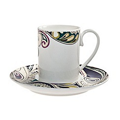 Denby - White 'Monsoon Cosmic' espresso cup and saucer set