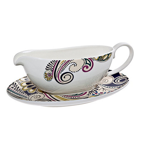 Denby - White +Monsoon Cosmic+ sauce jug and stand