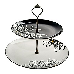 Denby - Black 'Monsoon Chrysanthemum' cake stand