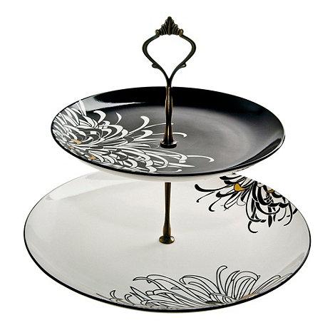 Denby - Black +Chrysanthemum+ cake stand