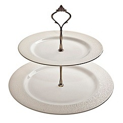 Denby - White glazed 'Monsoon Lucille' 2 tiered cake stand