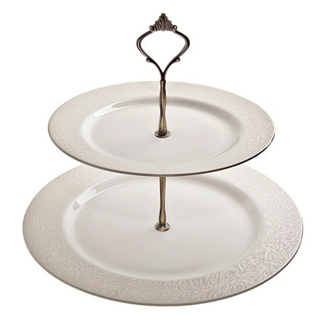 Denby - White +Lucille+ two-tiered cake stand