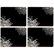 Set of Four Dark Grey Chrysanthemum Placemats