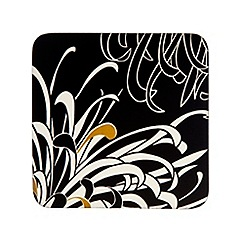 Denby - Pack of 4 black and cream 'Monsoon Chrysanthemum' coasters