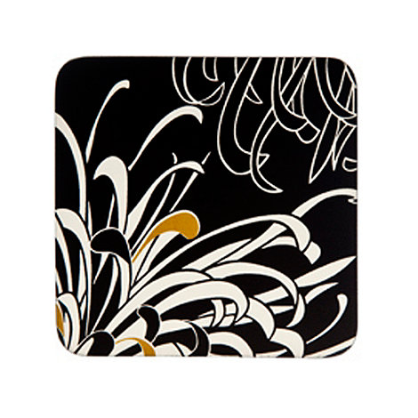 Denby - Set of four black and cream Chrysanthemum coasters