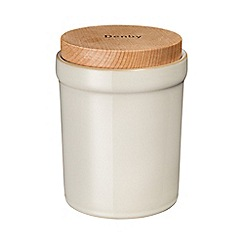 Denby - Cream and brown 'Linen Kitchen' storage jar