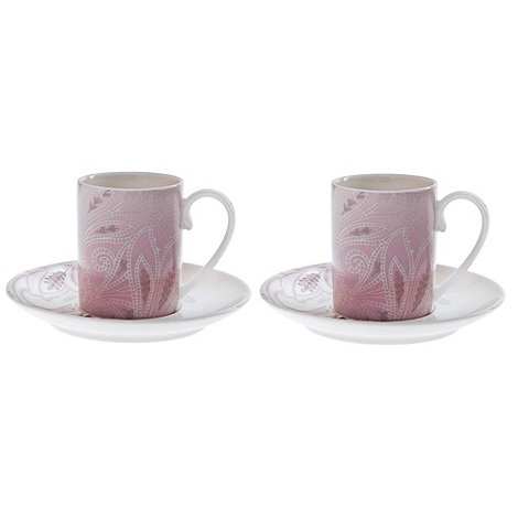 Denby - Fine china +Monsoon Chantilly+ set of two espresso cups and saucers