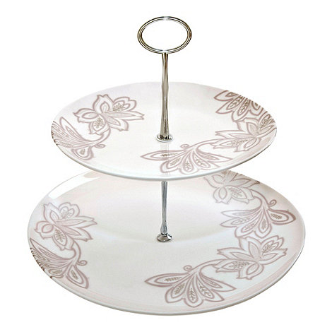 Denby - Fine china 'Monsoon Chantilly' two tier cake stand