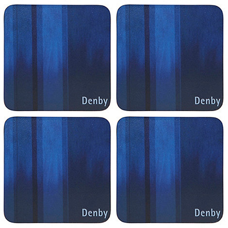 Denby - Pack of 4 blue striped coasters