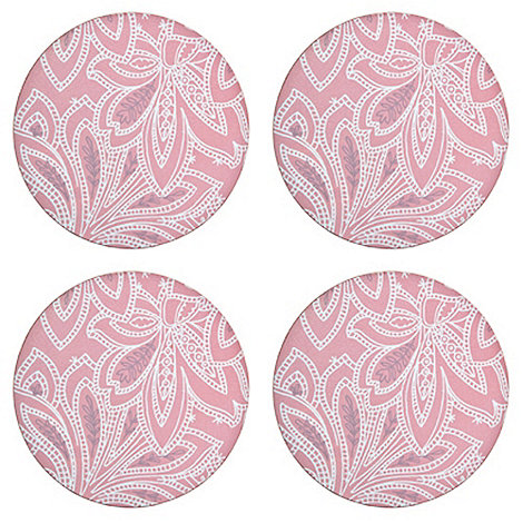 Denby - Set of four pink round +Chantilly+ placemats