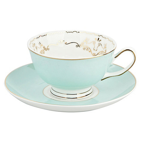 Bombay Duck - Pale green bird teacup and saucer