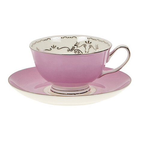 Bombay Duck - Lilac bird printed teacup and saucer set