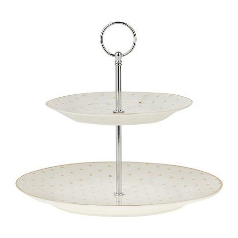 Bombay Duck - Ivory spotted two tier cake stand