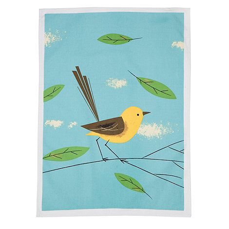 Magpie - Set of two cotton bird patterned tea towels