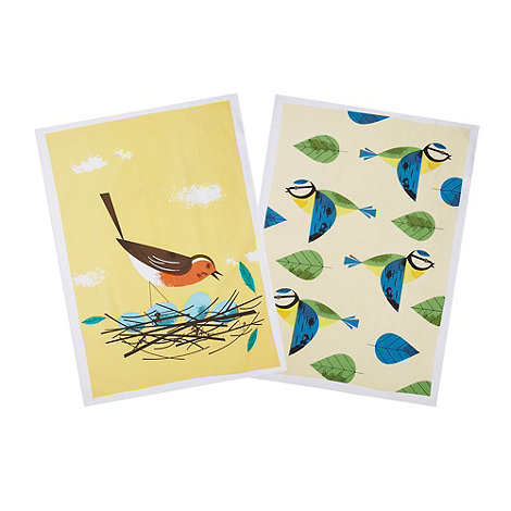 Magpie - Set of two cotton bird printed tea towels