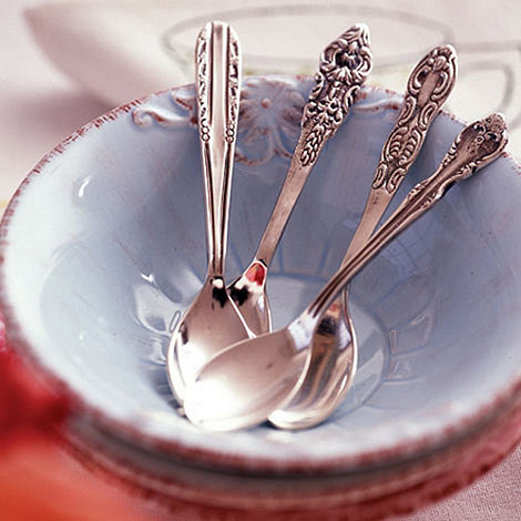 Bombay Duck - Set of 4 silver plated +Vintage Tea Party+ teaspoons