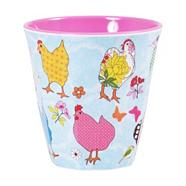 Melamine pink hen patterned two tone cup