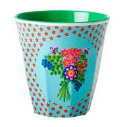 Melamine green star patterned two tone cup