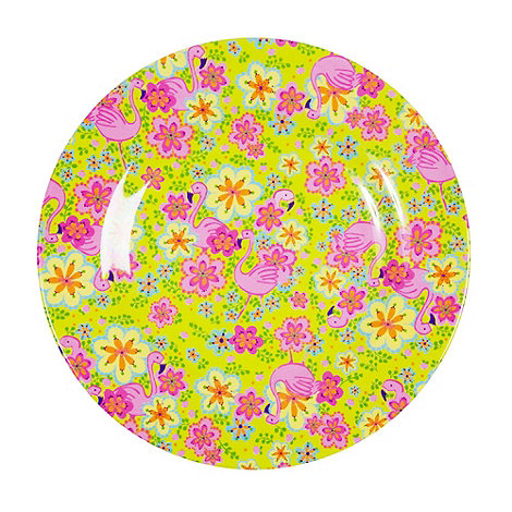 Rice - Melamine bright yellow flamingo patterned plate